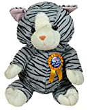 Cat soft toy 50cm tall with rosette and detachable badge with message Get Well Soon