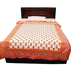 AADI ENTERPRISES Royal Rajasthani Multicolor Gold Print Paisley Design Pure Cotton Single Bed AC Comforter Dohar