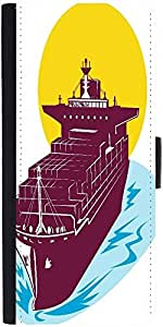 Snoogg Container Cargo Ship Designer Protective Phone Flip Case Cover For Zenfone Max