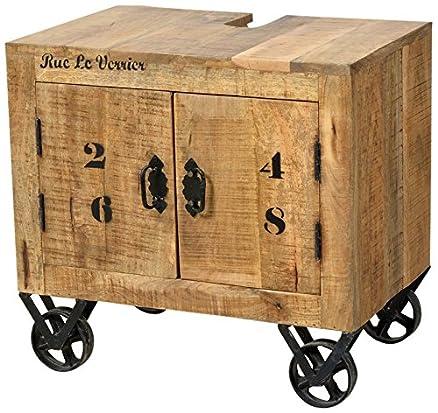 SIT-Möbel 1908-02, Mobile per lavabo con 2 ante in legno di mango anticato, 66 x 43 x 61 cm