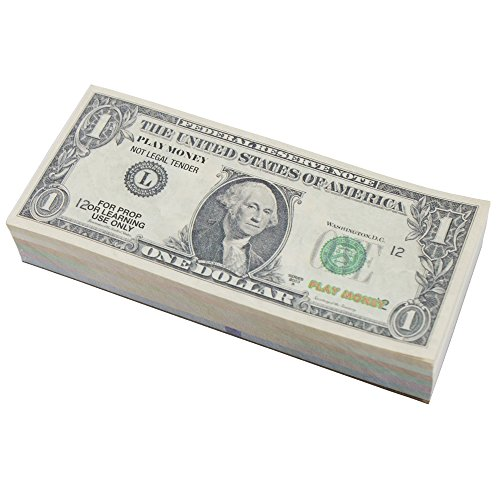 Toy Money 100 : Real looking us play money set double sided bills of