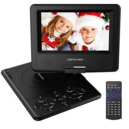 DBPOWER 7.5'' Lettore DVD portatile, 5 ore Batteria ricaricabile, display inclinabile, Massimo support con schede SD, pennette USB e riproduzione diretta di AVI/RMVB/MP3/JPEG (Black1, 7.5)