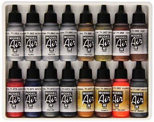Vallejo Metallic Set Model Air Paint, 17ml, 16-Pack (Vallejo Model Air compare prices)