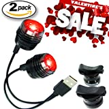 Bold II® Lifetime Warranty - 25 Lumen USB Rechargeable Bike Tail Light - 2-FOR-1 DEAL, Built-In Multi-Purpose Clip - Fits All Bikes, Helmet or Backpack, Easy Install (No Tools), Water-Resistant - Micro USB Charging Cable Included - Limited Time Offer - Try RISK-FREE!