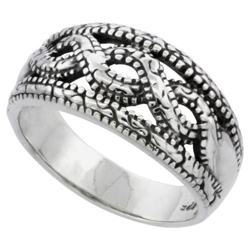 Sterling Silver Braided Bead Wedding Band Ring, size 8