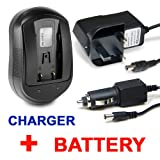 Invero HIGH QUALITY Battery + Mains Charger AC Adaptor with Car Charger for Canon Legria HFS10 HF-S10 HF S10