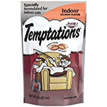 Whiskas Temptations Indoor Savory Salmon Flavour Treats for Cats, 2.1-Ounce Bags (Pack of 12)