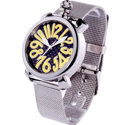 Time100 Ladies' Colorful Enamel Grey Steel Band Yellow Number Fashion Watch #W50046L.09A