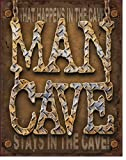 """Desperate Enterprises Man Cave """"What Happens in The Cave Tin"""" Sign, 12 by 16-Inch"""