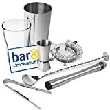 Stainless Steel Cocktail Set by bar@drinkstuff Cocktail Equipment Set, Bar Accessories Set includes Boston Cocktail Shaker, Hawthorne Cocktail Strainer, Jigger Measure, Ice Tongs, Muddler & Twisted Mixing Spoon
