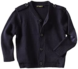 Eddie Bauer Little Boys Cardigan Sweater with Elbow Patches, Navy,5/6