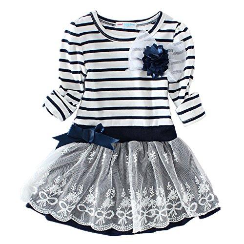 LittleSpring Little Girls' Dress Striped Flower Long Sleeve Size 7 Blue