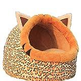 Morbido Animali Animale Domestico Cani Gatto letto Casa Cibo Canile Doggy Caldo Cuscino Cestino Voga (leopardo stampato, M)