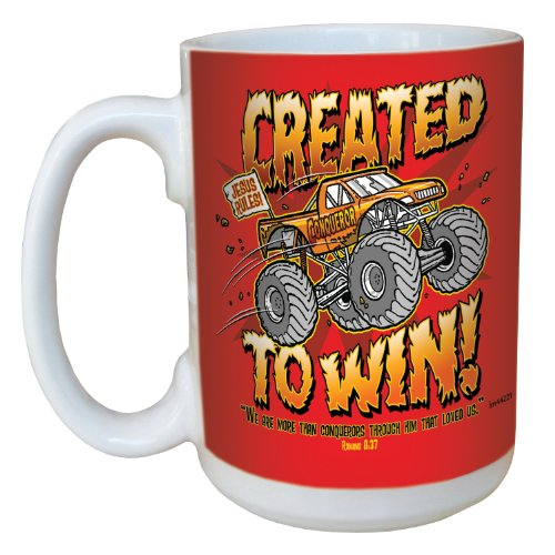 Tree-Free Greetings Lm44221 Monster Truck: Romans 8:37 Ceramic Mug With Full-Sized Handle, 15-Ounce
