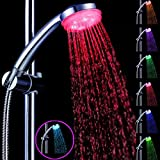 Great Value Shower Heads ABS Water Flow Power 7 Colors Changing LED Flash Light Bathroom Hand Held Shower Head
