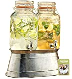 2 Glass Beverage Dispensers 1gal Each with Locking Clamps and Handles Ice Bucket Base