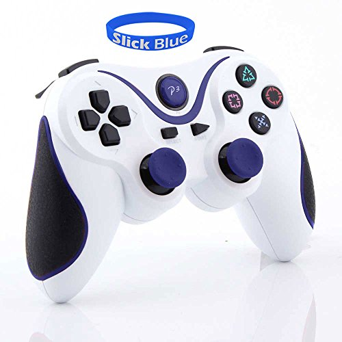 Slickblue(Tm) Wireless Bluetooth Game Pad Controller For Sony Playstation 3 (1 Pack, White-Blue)