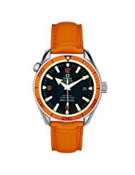 Omega Men's 2909.50.38 Seamaster Planet Ocean Automatic Chronometer Orange Leather Watch