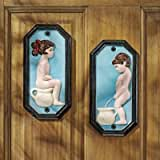 Design Toscano Tinkle Twins Restroom Die-Cast Iron Wall Plaques Multicolored