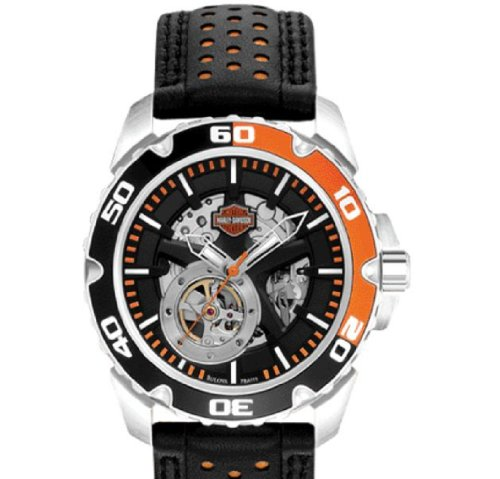 Harley-Davidson® Men's Spoke Self-Winding Automatic Watch. Luminous Hands. Exhibition Windows Front and Back. Black Leather Strap. 78A111