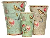 "Finch Decoupage Tin Stem Vase Set of 3 - Large = 8""x11.5""H"