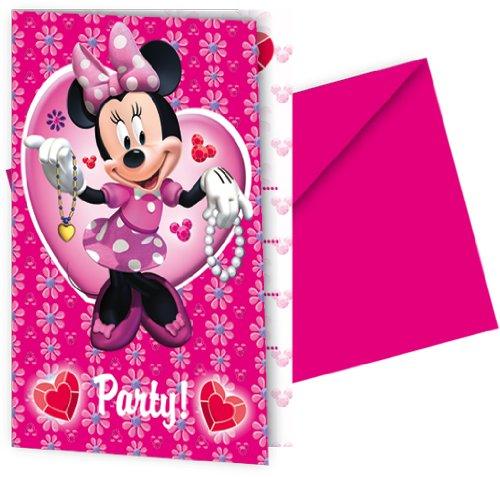 Amscan - Procos 6354 - Einladungskarten - Disney Minnie - 6 StÃ1/4ck