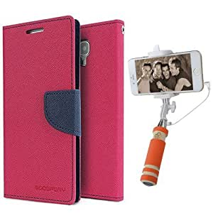 Aart Fancy Diary Card Wallet Flip Case Back Cover For Redmi 1s - (Pink) + Mini Aux Wired Fashionable Selfie Stick Compatible for all Mobiles Phones By Aart Store