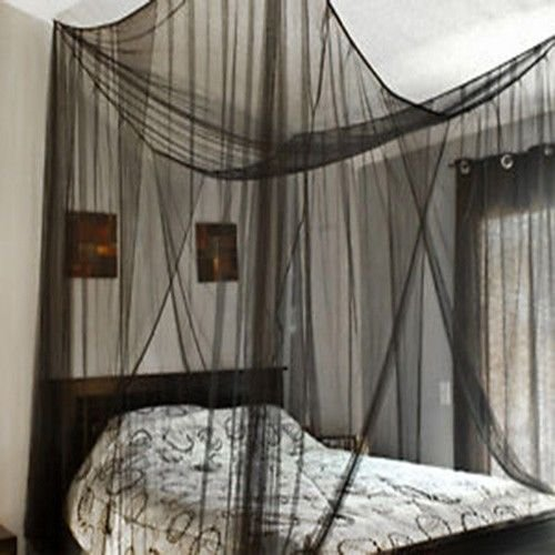 Check Out This Super buy 4 Corner Post Bed Canopy Mosquito Net Full Queen King Size Netting Black Be...