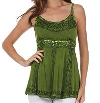 Sakkas 6531 Stonewashed Rayon Flared Hem Sleeveless Blouse - Green - One Size