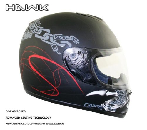 Advance Hawk Skull and Bones with Chains Black Matte Full Face Motorcycle Helmet - Size : Large