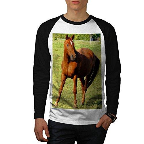 Maestoso Cavallo Forte Mustang Uomo Nuovo Bianca (Maniche Nere) M Baseball manica lunga Maglietta | Wellcoda