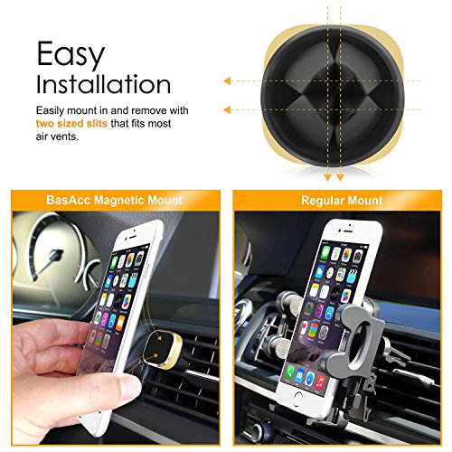 Universal-Car-Mount-Holder-Air-Vent-Magnetic-Smartphone-Mount-Car-Phone-Holder-for-iPhone-66SSE-Galaxy-S7-Smartphones-Mini-Tablets-Secure-Mounting-No-Adhesive-Residue-Easy-Installation