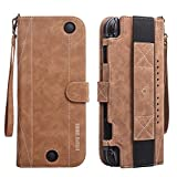 Nintendo Switch Portable Flip Leather Case - OBOR Wallet Style Protective Cover with Kickstand and Magnetic Snap, Wrist Strap Attached for Easy Carrying (Brown)