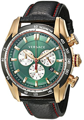 Versace-Mens-V-Ray-Quartz-Stainless-Steel-and-Leather-Casual-Watch-ColorBlack-Model-VDB080015