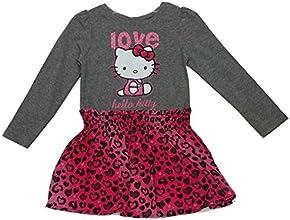Hello Kitty Little Girls Fuchsia Grey Leopard Spot quotLovequot Print Dress 4-6