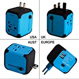 Uppel Worldwide Travel Adapter All-in-one Wall Power Plug Charger with Universal Dual Usb and Safety Fuse for US EU UK AU about 150 countries(Blue)