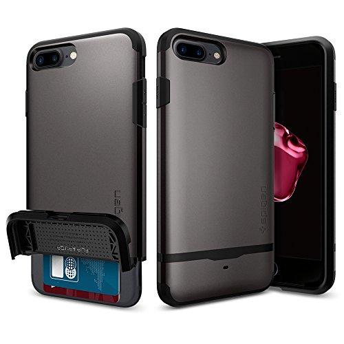 【Spigen】 iPhone7 Plus ケース, フリップ・アーマー [ IC カード収納 ] アイフォン 7 プラス 用 耐衝撃 カバー (iPhone7 Plus, ガンメタル)