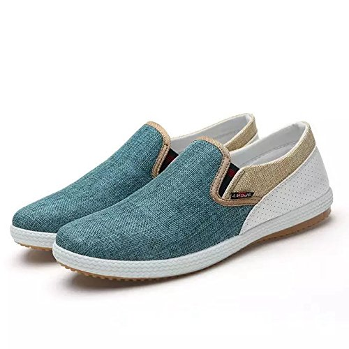 Men Fashion Sneakers Linen Woven Patchwork Flats 2014 New Breathable Man Leisure Shoes. (9.5, Green)