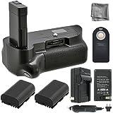 Battery Grip Bundle F/ Nikon D5100, D5200, D5300: Includes Vertical Battery Grip, 2-Pk EN-EL14 Long-Life Batteries, Charger, More