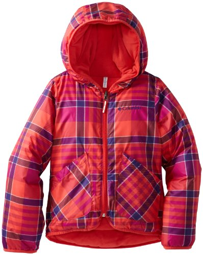 Columbia Little Girls' Dual Front Jacket, Red Hibiscus Plaid, X-Small