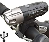 Night Provisionu2122 ULTRA BRIGHT BX-550 USB Rechargeable LED Bike Headlight INTENSE WHITE 550 Lumens - Easy-Click Mount - Battery Capacity Check - Water Proof IPX65