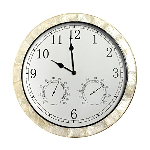 Optimum Faux Pearl Shell Outdoor/Indoor Wall Clock with Humidity and Temperature 14 Inch (Tropical Outdoor Clock compare prices)