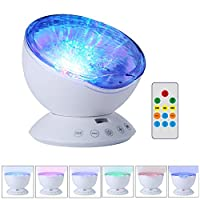 Umiwe Remote Control Ocean Wave Projector Night Light Lamp with Built-in Music Player [12 LED Beads, 7 Colorful Light Modes] for Kids Adults Bedroom Living Room - est Generation by Umiwe