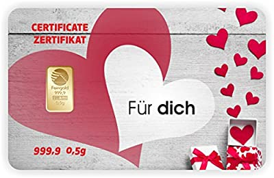 Goldbarren Geschenkkarte 0,5 g 0,5g Gramm Feingold 999.9 Nadir Gold Valentinstag - 5