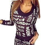 Baymate Damen V-Ausschnitt Drucken Casual Sportswear Pullover und Hose 2pcs Trainingsanzug Schwarz L