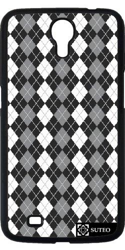 Hülle für Samsung Galaxy Mega 6.3 (GT-I9205) - Jacquard -Muster Schwarz-Weiß- Grau - ref 343