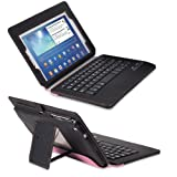 GreatShield LEAN Series Ultra Thin Wireless Bluetooth Keyboard Leather Folio Case with Stand (Sleep and Wake Function) for Samsung Galaxy Tab 3 8.0 / 8-inch Tablet (Black / Pink)