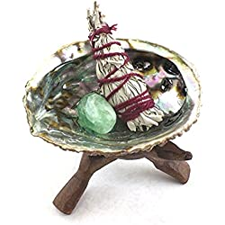 Crystal Allies Specimens: Abalone Shell Smudging Kit with Wooden Tripod, Sage Stick & Tumbled Stone - Choose Your Own Healing Set