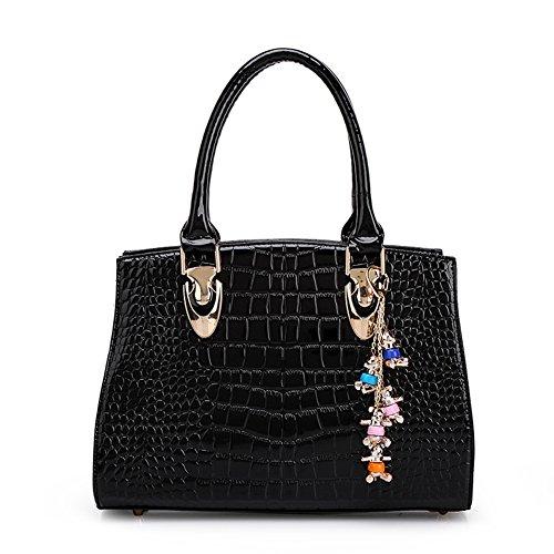 Fashion Pu Leather Clutch Cross-Body Shoulder Wristlet Handbag 0317655 (Black)
