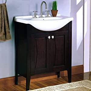 "Fairmont Designs Vanities 104 V30 Tuxedo 30"" Vanity White Vitreous China Sink Top Mirror Combo Espresso"